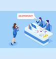 isometric hiring and recruitment job candidates vector image