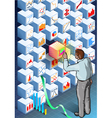 Isometric Infographic with Standing Man on vector image