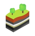 Layers of earth 3d isometric icon vector image