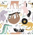 lazy animals hand drawn color seamless pattern vector image vector image