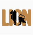 lion logo with double exposure on text vector image vector image