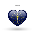 Love Indiana state symbol Heart flag icon vector image vector image