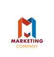 m letter icon for marketing company vector image