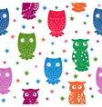 Multicolour owl and stars seamless pattern vector image vector image