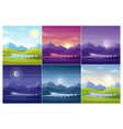 nature landscapes at different day time flat vector image