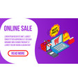 online sale banner isometric style vector image