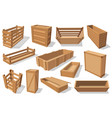 pallets and wood crates parcels wooden boxes vector image