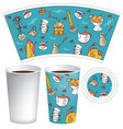 paper cup for hot drink with coffee doodles vector image vector image