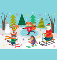 poster winter fun with animals in forest vector image