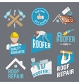 Roofer label set vector image