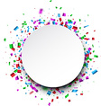 Round background with confetti vector image