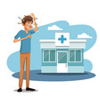 scene sickness people with dizziness and vomiting vector image