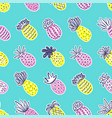 seamless pineapple pattern handdrawn pinapple vector image vector image