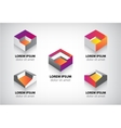 Set of abstract colorful geometric cube 3d icons vector image
