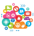 Social media concept Communication in the global vector image