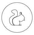 squirrel black icon in circle outline vector image vector image