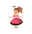 sweet little girl in halloween costume vector image