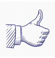thumbs up like hand sketch vector image vector image