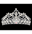 Tiara crown womens wedding with white stones vector image