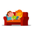 tired little boy sleeping on the couch next to vector image vector image