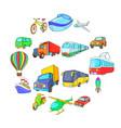 Transport icons set cartoon style