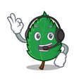 with headphone mint leaves mascot cartoon vector image vector image
