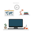 workplace modern concept in room on desk vector image