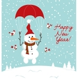 snowman with a parachute and birds vector image