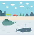 Summer journey by car and boat vector image
