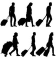 set black silhouettes travelers with suitcases on vector image