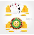 casino roulette money poker cards game set vector image