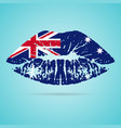 australia flag lipstick on the lips isolated on a vector image vector image