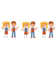 back to school boys and girls posing together vector image vector image