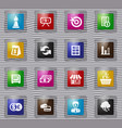 business glass icons set vector image