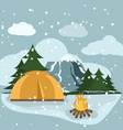 camping winter hiking adventure tourist landscape vector image vector image