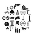 casque icons set simple style vector image vector image