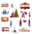 christmas flat set vector image