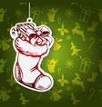 christmas sock santa claus decorative christmas vector image vector image
