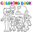 coloring book school kids theme 1 vector image vector image