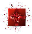 decorative gift box with red bow valentines day vector image
