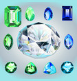 diamonds and emeralds of different shapes and cut vector image