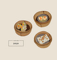 dim sum of chinese cuisine vector image vector image