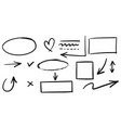 doodle lines arrows circles and curves hand vector image vector image
