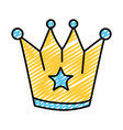 doodle metal crown object with stars design vector image