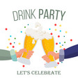 drink office party poster hands holding vector image vector image