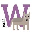 English animals zoo alphabet letter W vector image