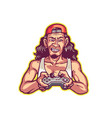 excited long haired red neck man holding joy vector image vector image