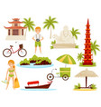 flat set of vietnamese cultural objects vector image vector image