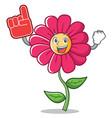 foam finger pink flower character cartoon vector image vector image
