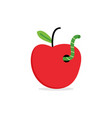 fresh red apple with worm vector image vector image